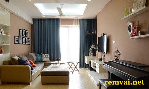 Rèm vải một màu cho phòng ngủ giá rẻ mã RV 139