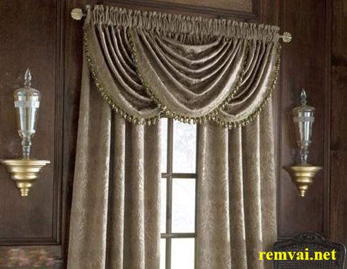 Rèm vải nhung hoa văn sang trọng cho cửa sổ mã RVN 102