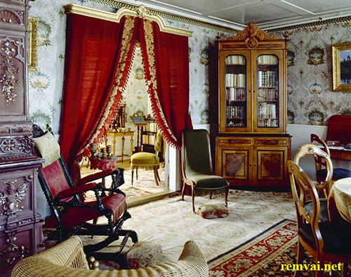 Rèm vải nhung màu đỏ cho phòng khách mã RVN 103